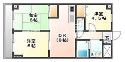 セザール第一西神戸[405号室]の間取り