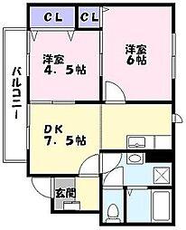 兵庫県姫路市広畑区則直の賃貸アパートの間取り