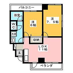 ハイツ中柳[4階]の間取り