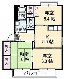 香川県高松市亀田南町の賃貸アパートの間取り