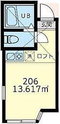横浜市営地下鉄ブルーライン 吉野町駅 徒歩3分の賃貸アパート 2階ワンルームの間取り