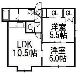 北海道札幌市西区二十四軒四条4丁目の賃貸アパートの間取り
