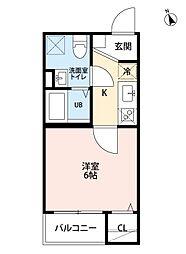 愛知県名古屋市北区稚児宮通1の賃貸アパートの間取り