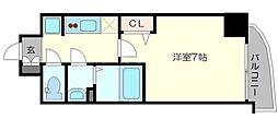 プレサンス梅田II 11階1Kの間取り