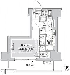 リブクオーレ神保町 4階ワンルームの間取り