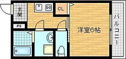 京阪本線 千林駅 徒歩5分の賃貸マンション 1階1Kの間取り