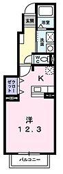 東京都西多摩郡瑞穂町大字箱根ケ崎の賃貸アパートの間取り