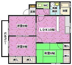 広島県安芸郡府中町緑ケ丘の賃貸アパートの間取り