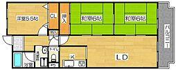 ルノン茨木[3階]の間取り