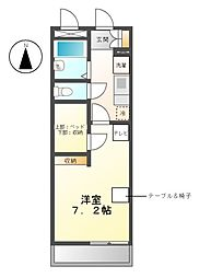 愛知県名古屋市天白区原4丁目の賃貸アパートの間取り