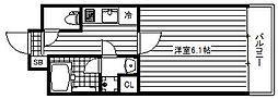Osaka Metro堺筋線 南森町駅 徒歩3分の賃貸マンション 6階1Kの間取り