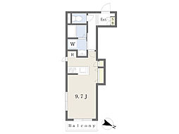仮)大口新築計画 2階ワンルームの間取り