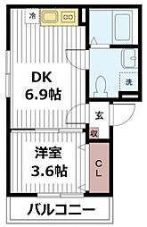 千葉県松戸市幸谷の賃貸アパートの間取り