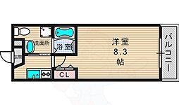 京阪交野線 交野市駅 徒歩5分の賃貸マンション 8階1Kの間取り