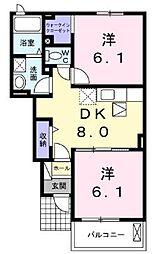 高松琴平電気鉄道長尾線 学園通り駅 徒歩8分の賃貸アパート 1階2DKの間取り