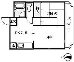 広島県広島市西区大芝1丁目の賃貸マンションの間取り