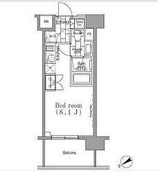 東急目黒線 不動前駅 徒歩4分の賃貸マンション 2階ワンルームの間取り