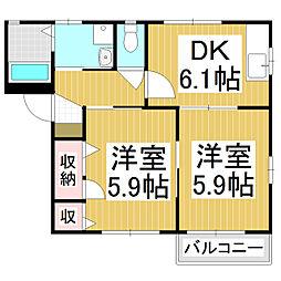 サンシャイン桃乃井B棟[1階]の間取り