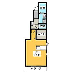 マニフィーク 1階ワンルームの間取り