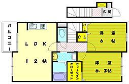 福岡県古賀市今の庄1丁目の賃貸アパートの間取り