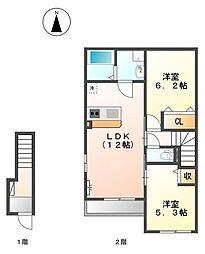 守山区上志段味新築アパート[2階]の間取り