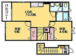 アルオナ1[2階]の間取り
