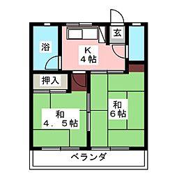 後藤石坂コーポ[1階]の間取り