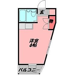 ラフィーネ瀬島 4階ワンルームの間取り