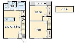 JR阪和線 東岸和田駅 徒歩8分の賃貸タウンハウス 1階2LDKの間取り