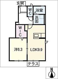 ウィステリア扶桑[1階]の間取り