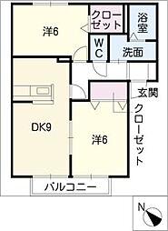 セントヒル竹元館 B棟[2階]の間取り