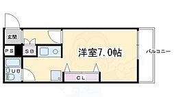 キンブリッジ京都駅西 2階1Kの間取り