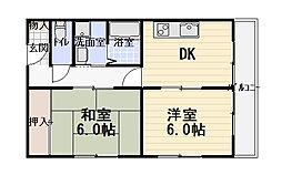 ハイタウン日吉町コーポ 2階2DKの間取り