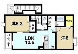 奈良県桜井市大字金屋の賃貸アパートの間取り
