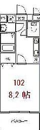 ブリリアント大木II[102号室号室]の間取り