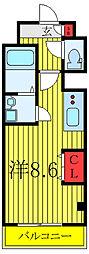 モリオン板橋 6階ワンルームの間取り