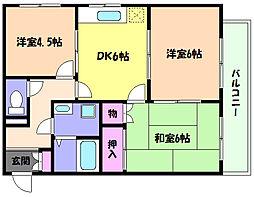 兵庫県芦屋市浜芦屋町の賃貸アパートの間取り