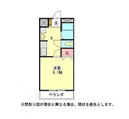 愛知県一宮市富士1丁目の賃貸アパートの間取り
