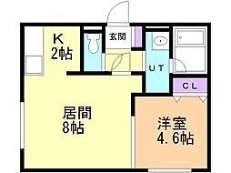 FELIAS富士 4階1LDKの間取り
