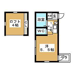 東急目黒線 武蔵小山駅 徒歩3分の賃貸アパート 2階ワンルームの間取り