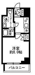 ラクラス日本橋浜町 3階1Kの間取り