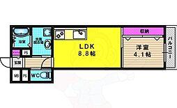 Villa桂 2階1LDKの間取り