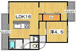 ルミエール楠葉[2階]の間取り