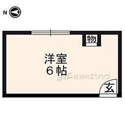 sharely京都三条 2階ワンルームの間取り
