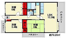 ピュア若草II[4階]の間取り