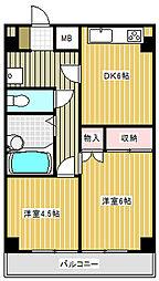 東京都目黒区目黒本町5丁目の賃貸マンションの間取り