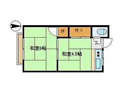 東京都大田区西蒲田5丁目の賃貸アパートの間取り