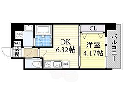 おおさか東線 南吹田駅 徒歩16分の賃貸マンション 4階1DKの間取り
