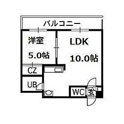 北海道札幌市中央区南八条西6丁目の賃貸マンションの間取り