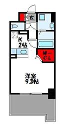 JR篠栗線 柚須駅 徒歩24分の賃貸マンション 4階ワンルームの間取り